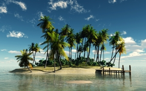 Tropical Island with Beach