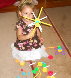 Princess Built a Pin Wheel with TinkerToy