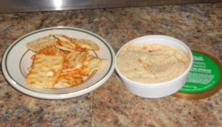 cheese dip and crackers