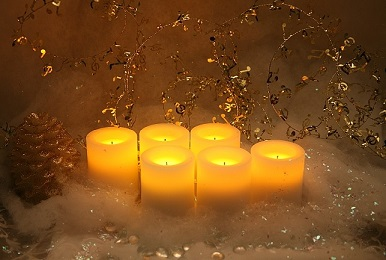 flameless holiday candle display