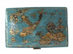 Madera Home Furniture Teal Pillow Box with Koi Fish Top http://twoclassychics.com