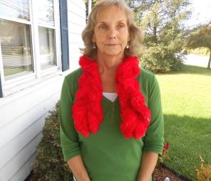 Mom loving her new scarf!