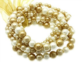 chunky bracelets in gold and pearl http://twoclassychics.com
