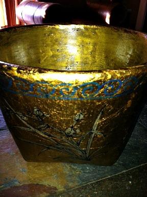 Madera Home Furniture Gold Mung Bean Basket w. cherry blossoms http://twoclassychics.com