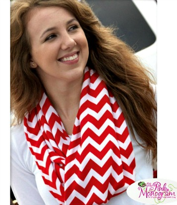 The Pink Monogram Chevron Print Infinity Scarf Giveaway
