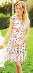 LC Lauren Conrad Cap-Sleeved Dress with Sweetheart Cut-Out Detail, $60