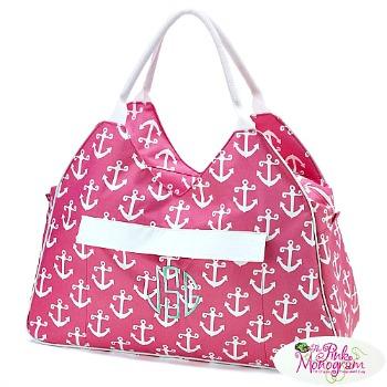 monogrammed pink anchor beach bag http://twoclassychics.com/2014/06/pink-monogram-beach-tote/