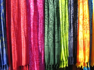 colorful batik shawls http://twoclassychics.com/2014/06/4-tips-buying-eco-friendly-clothing/