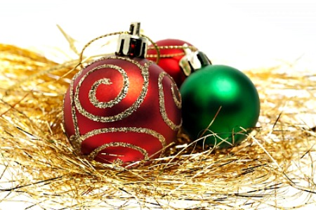 Christmas Ball On White Background by phasinphoto and freedigitalphotos