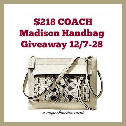 Beautiful $218 COACH Madison Handbag Giveaway
