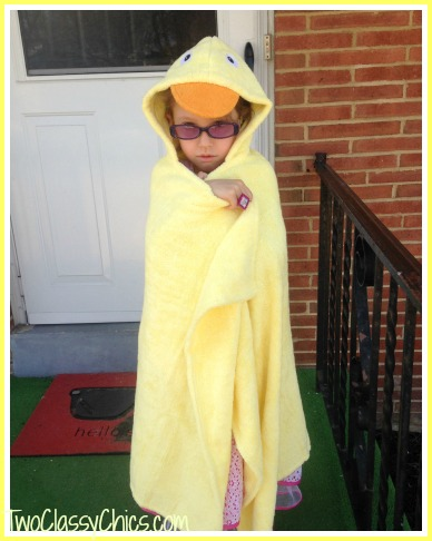 gia with ducky hooded bath towel