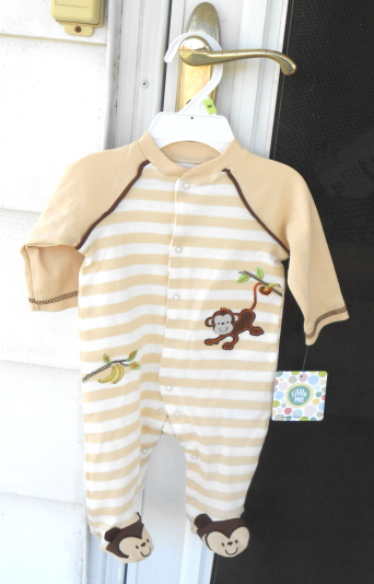 monkey theme baby footie