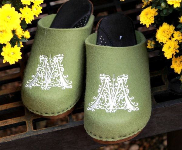 Kick Off Fall With a Pair of Custom Clogs  sage with white monogram