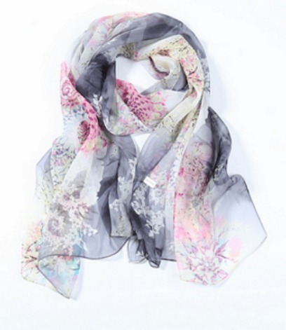 Black and Pink Silk Scarf yangtzestore