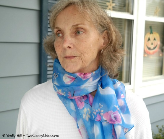 Blue and Pink Floral Silk Scarf