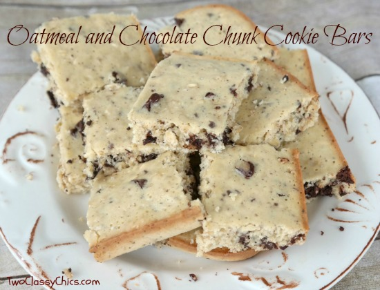 Oatmeal and Chocolate Chunk Cookie Bars Recipe