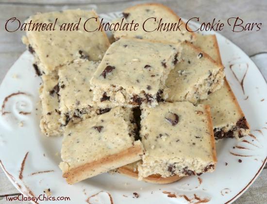 Oatmeal and Chocolate Chunk Cookie Bars Recipe