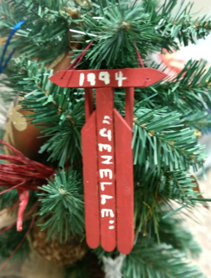 Popsicle Stick Sled Christmas Ornament