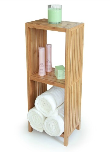 Get Organized in the Bathroom with a Bamboo Organizing Shelf