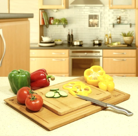 1EasyLife 100% Natural Bamboo Cutting Board Set