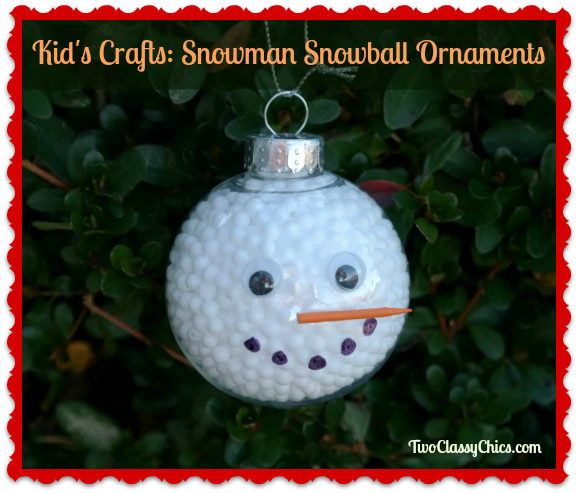 Kid's Craft Project: Snowman Snowball Christmas Ornaments