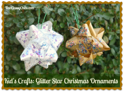 Kid's Crafts: Glitter Star Christmas Tree Ornaments