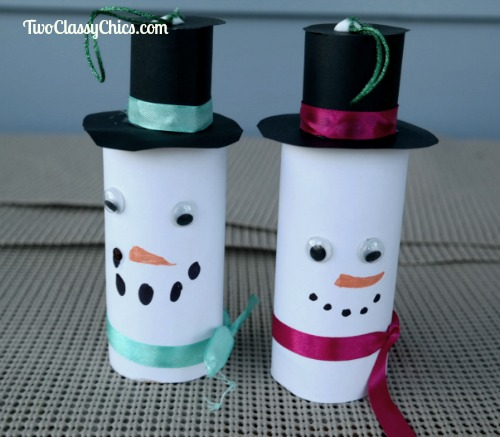 Kid's Craft Project: Toilet Paper Tube Snowman Ornaments