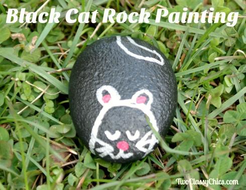 Black Cat Painted Garden Rock