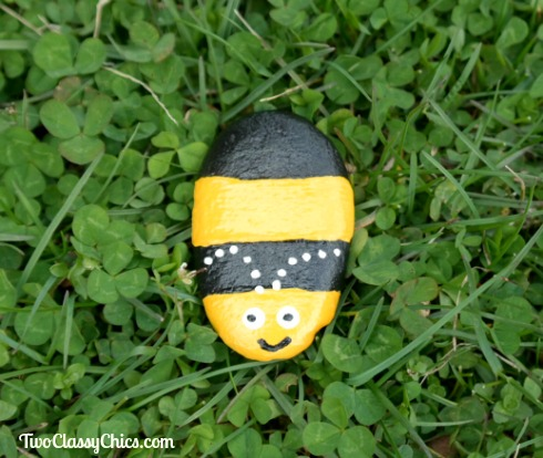 Black Cat and Bumble Bee Rock Painting Craft Projects