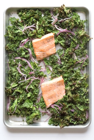 Sheet Pan Salmon with Crispy Kale Recipe
