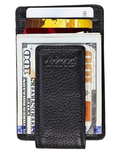 Kinzd Magnetic Leather Money Clip with RFID Blocking Technology