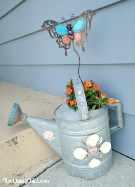 DIY Vintage Metal Watering Can Garden Planter – Coastal Style