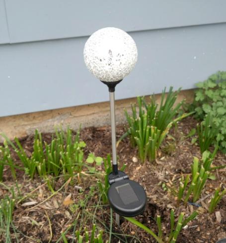 mosaic solar-powered gazing balls in white & silver