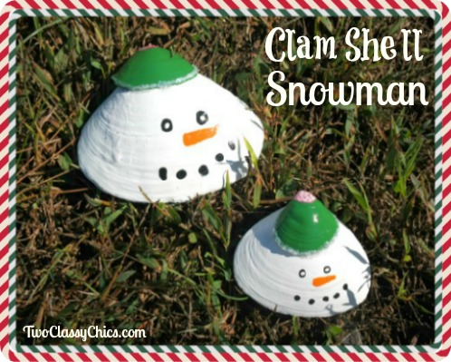 Kid's Crafts Project - Painted Snowman Clam Shells