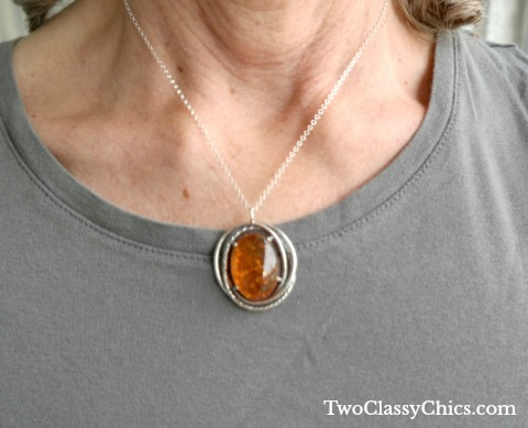 Avi's Amber And Sterling Silver Oval Pendant Necklace