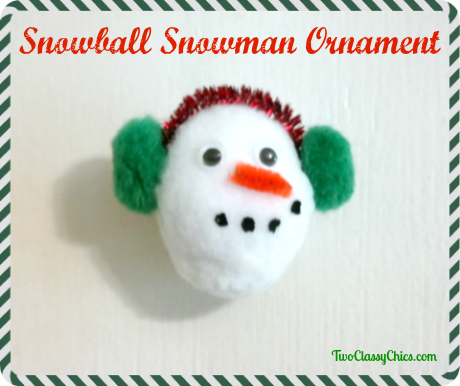 DIY Easy Snowball Snowman Holiday Ornaments