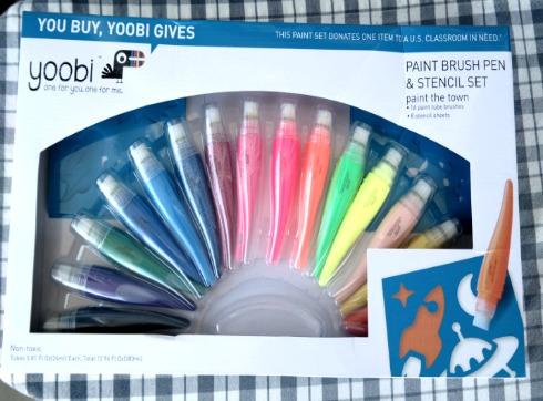 Kid's Paint Brush Pen and Stencil Set from Yoobi