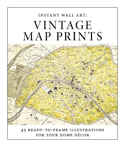 Instant Wall Art - Vintage Map Prints Book