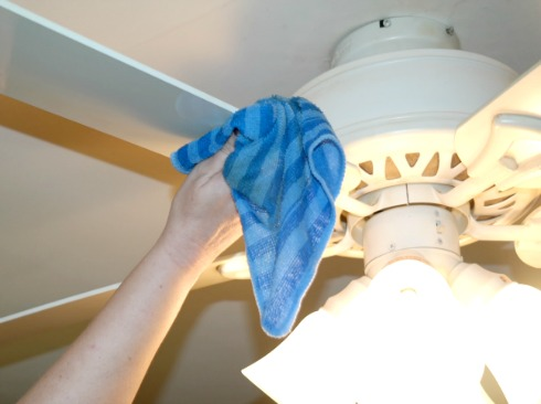 Cleaning Ceiling Fan with Microfiber Cloth